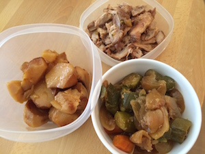 Chicken and potatoes in crockpot seperate containers